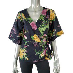 H&M Womens Wrap Kimomo Top Size 6 Floral Black